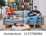 hipster couple ignoring real... | Shutterstock . vector #1172780086