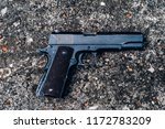 colt 45,1911 semi-automatic military pistol.classic pistol. close-up