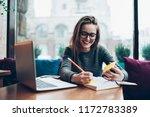 positive female student in... | Shutterstock . vector #1172783389