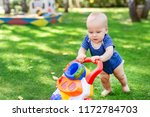 cute little boy learning to... | Shutterstock . vector #1172784703
