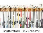 lot of ski hanged on customized ... | Shutterstock . vector #1172786590