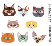 cute kittens face with... | Shutterstock .eps vector #1172790949