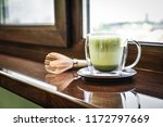 matcha green tea latte with... | Shutterstock . vector #1172797669