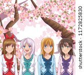 beautiful womens friends manga... | Shutterstock .eps vector #1172825830