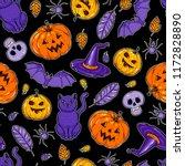 halloween seamless pattern.... | Shutterstock .eps vector #1172828890