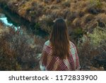 young caucasian woman with long ... | Shutterstock . vector #1172833900