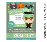 halloween party poster with... | Shutterstock .eps vector #1172899519