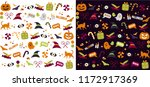 collection of cute halloween... | Shutterstock .eps vector #1172917369
