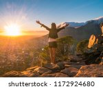 pretty girl on the lions head... | Shutterstock . vector #1172924680