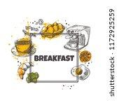breakfast concept design. round ... | Shutterstock .eps vector #1172925259