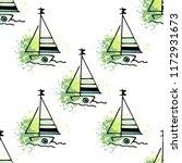 childish drawing yacht...   Shutterstock .eps vector #1172931673