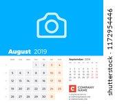august 2019. calendar for 2019...   Shutterstock .eps vector #1172954446