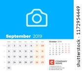 september 2019. calendar for...   Shutterstock .eps vector #1172954449
