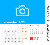 november 2019. calendar for...   Shutterstock .eps vector #1172954470
