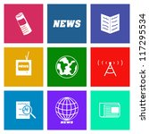 set of vector news media icons...