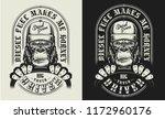 t shirt print with gorilla... | Shutterstock .eps vector #1172960176