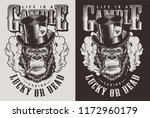 t shirt print with gorilla in... | Shutterstock .eps vector #1172960179