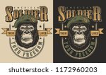 t shirt print with gorilla... | Shutterstock .eps vector #1172960203