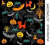 halloween seamless background... | Shutterstock . vector #1172962399