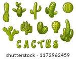 big set cartoon mexican cactus  ...