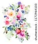 flowers watercolor illustration.... | Shutterstock . vector #1172964103