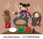 a chinese village woman stir... | Shutterstock .eps vector #1173004306