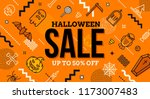 Stock vector halloween sale banner pattern with halloween linear signs symbols and abstract different shape 1173007483