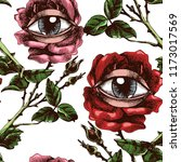 roses and eyes. hand drawn... | Shutterstock .eps vector #1173017569