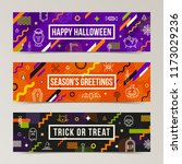 set of halloween greeting... | Shutterstock .eps vector #1173029236