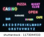 neon letters for nightclubs and ... | Shutterstock .eps vector #1173044533