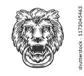 lion animal ring door handle... | Shutterstock . vector #1173045463