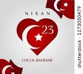23 nisan cumhuriyet bayrami.... | Shutterstock .eps vector #1173050479