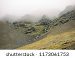 iceland mountains in a fog with ... | Shutterstock . vector #1173061753