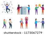 funny people posing with money... | Shutterstock .eps vector #1173067279
