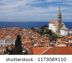 view of town piran in slovenian ... | Shutterstock . vector #1173089110