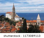 view of town piran in slovenian ... | Shutterstock . vector #1173089113