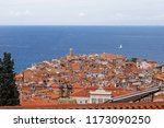 view of town piran in slovenian ... | Shutterstock . vector #1173090250