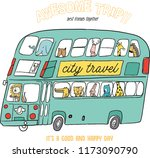 animal illustration with bus  | Shutterstock .eps vector #1173090790