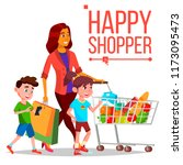 shopping woman vector. with... | Shutterstock .eps vector #1173095473