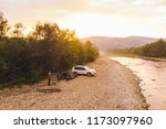 aerial view of car camping near ... | Shutterstock . vector #1173097960