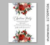 marsala dark red peony wedding... | Shutterstock .eps vector #1173099106