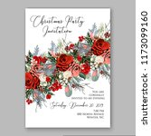 marsala dark red peony wedding... | Shutterstock .eps vector #1173099160
