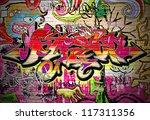 graffiti wall vector urban art | Shutterstock . vector #117311356