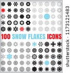 set of 100 simple snowflake... | Shutterstock .eps vector #1173121483