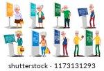 old people using atm  digital... | Shutterstock . vector #1173131293