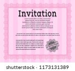 pink invitation. with linear... | Shutterstock .eps vector #1173131389