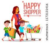 shopping woman. with children.... | Shutterstock . vector #1173131416