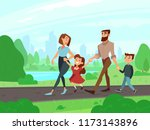 happy cartoon father  mother ... | Shutterstock . vector #1173143896