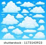 cartoon fluffy cloud at azure... | Shutterstock . vector #1173143923