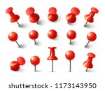 red pushpin top view. thumbtack ... | Shutterstock . vector #1173143950